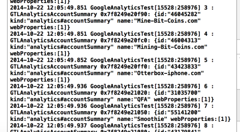 GoogleAnalytics Properties Log