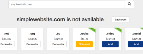 click checkout to purchase domain